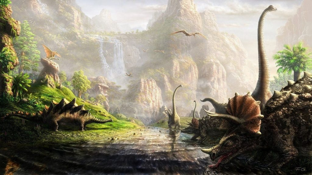 Dinosaurs in a Beautiful Background