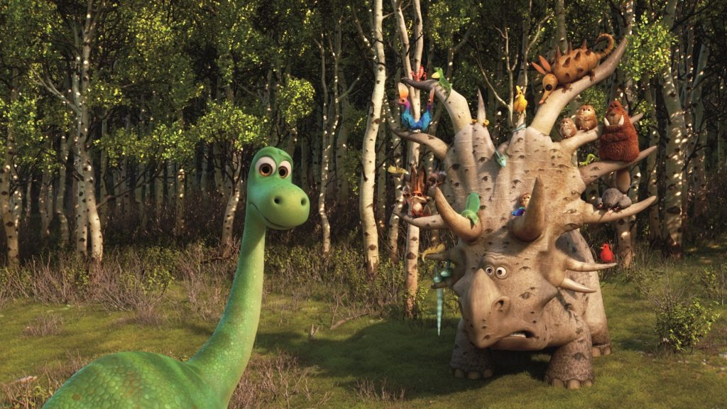 Green Brachiosaurus and Brown Triceratops with Animals on its Head