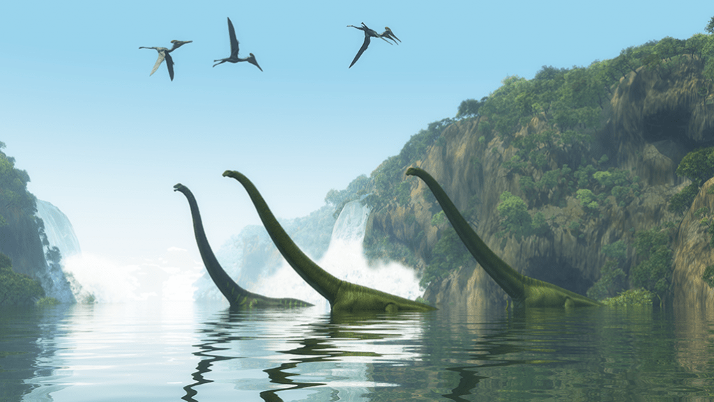 Herbivorous Dinosaurs in the Lake and Pterosaurs in the Sky
