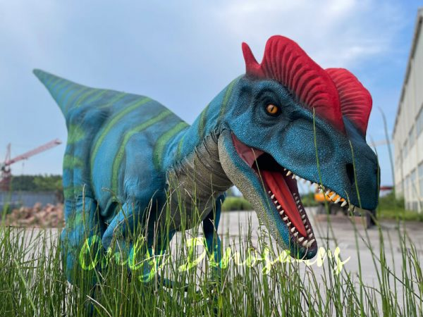A Roaring Blue Dilophosaurus with Green Stripes and Red Crown