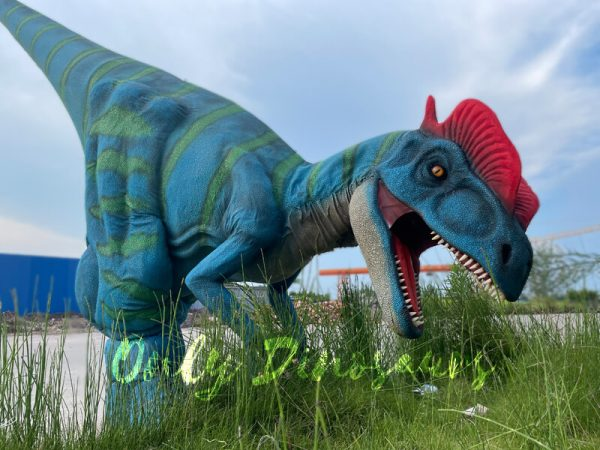 A Roaring Blue Dilophosaurus with Green Stripes