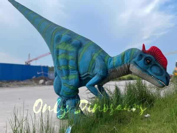 A Blue Dilophosaurus with Green Stripes