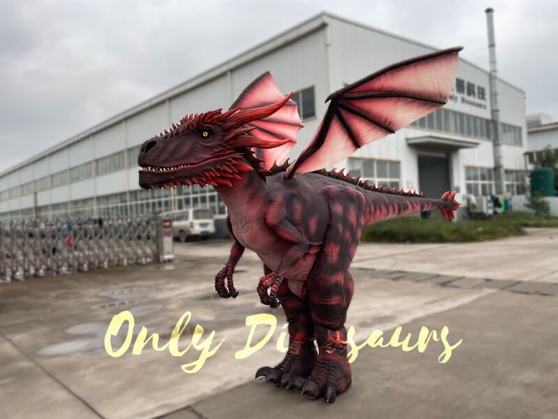A Dark Red Flying Dragon Standing on the Ground