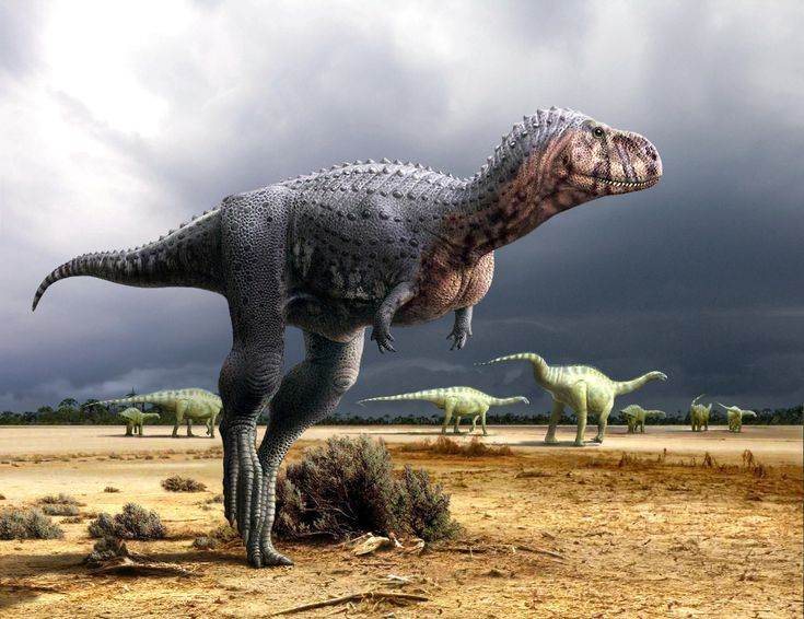 Ozraptor on the Ground with Several Herbivorous Dinosaurs