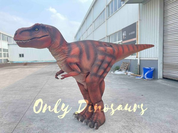 A Dark Red Dramatic T-Rex with Stripes on the Ground