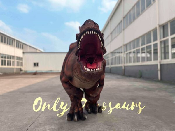 A Roaring Scary Dark Red Dramatic T-Rex with Stripes