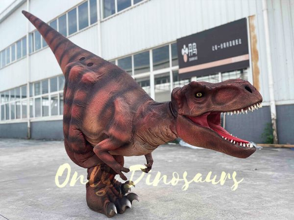 A Roaring Dark Red Dramatic T-Rex with Stripes