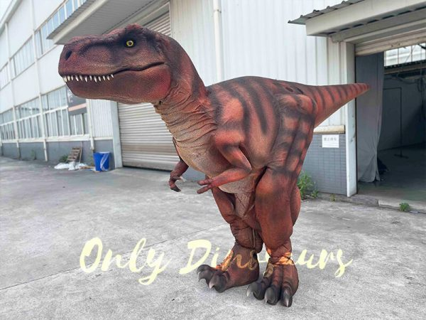 A Dark Red Dramatic T-Rex with Stripes in Front of the House