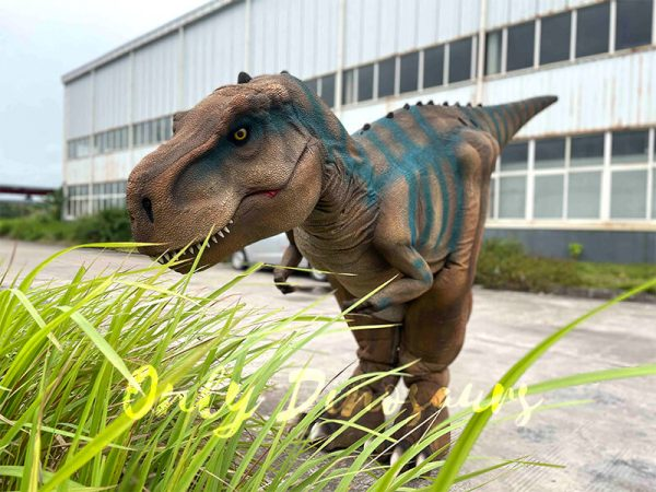 A Brown Dramatic T-Rex with Blue Stripes Behind The Glass