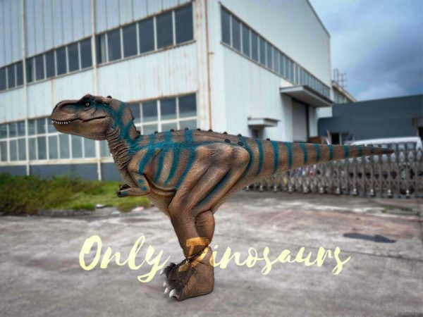 A Brown Dramatic T-Rex with Blue Stripes