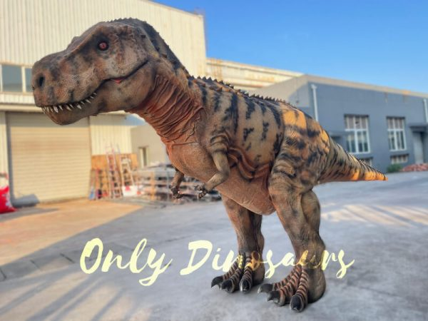 A Brown Giant T-Rex with Black Stripes on the Ground