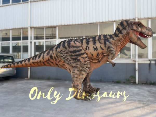 A Roaring Brown Giant T-Rex with Black Stripes