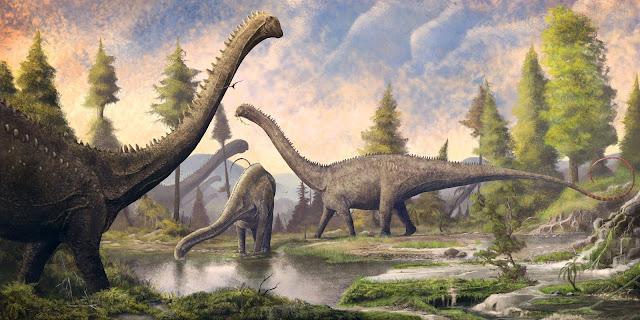 Several Diplodocus During the Lake