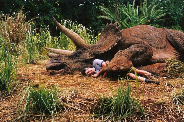 Sleeping Triceratops and Human