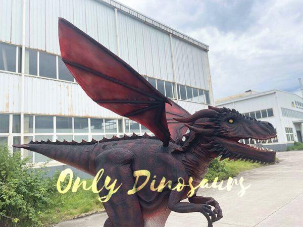 The Half Body of a Dark Red Flying Dragon