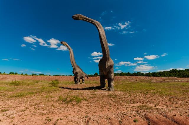 Two Brachiosaurus on the Ground