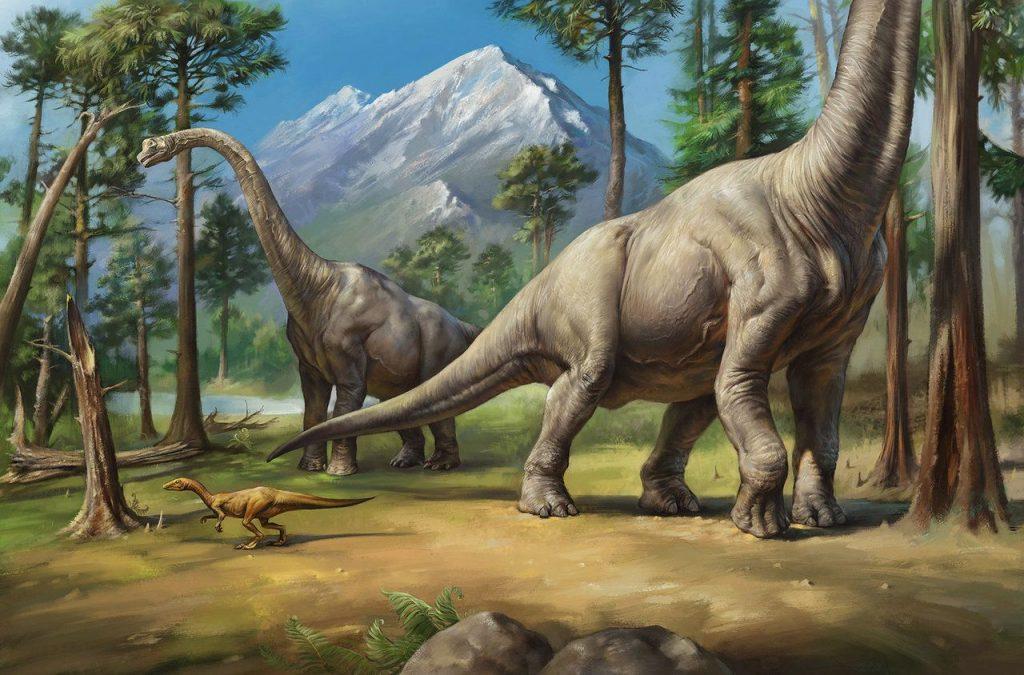 Two Brachiosaurus with a Small Dinosaur