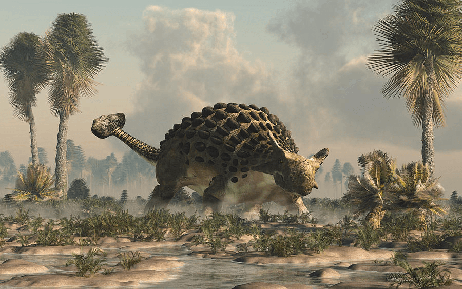A Brown Ankylosaurus on the Plain with Green Plants 2