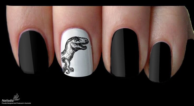 A Dinosaur Nail with White Background and Three Black Nails