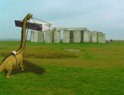 A Dinosaur is Carrying Stones to Build Stonehenge