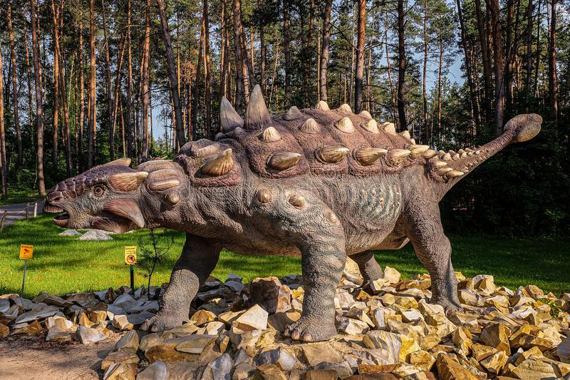 A Giant Ankylosaurus on a Stone Road