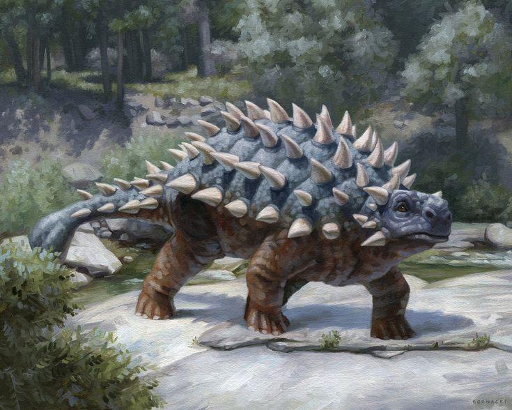 A Grey Ankylosaurus on the Ground