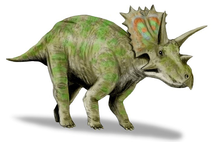 graphic art of a brown dinosaur with two horns on its brows and one horn on its nose