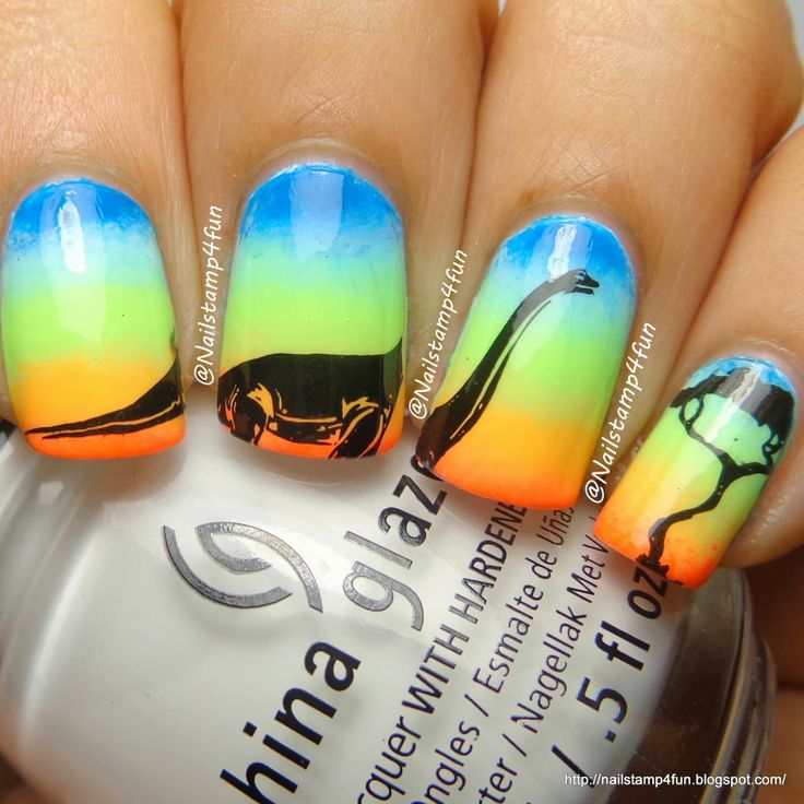 Apatosaurus Nails with Colorful Background