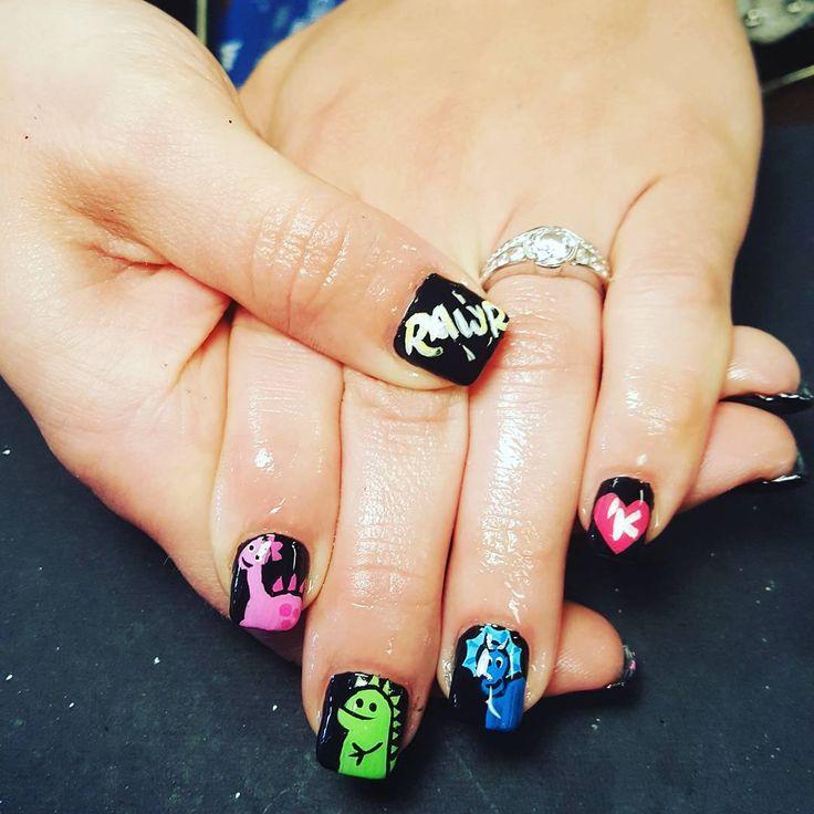 Art Dinosaur Nails with Black Background