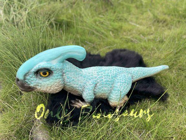 A Parasaurus lying on the grass