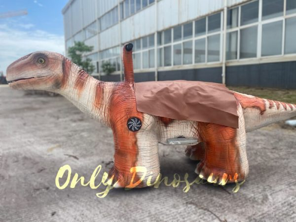 the side of a cute orange baby dinosaur ride on the ground
