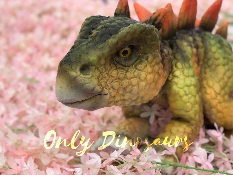 Baby Stegosaurus Dinosaur Puppet in the Flower
