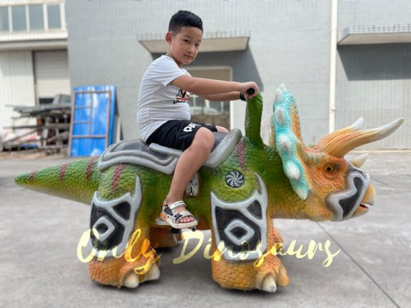 A Kid on the Back of a Colorful Armored Triceratops