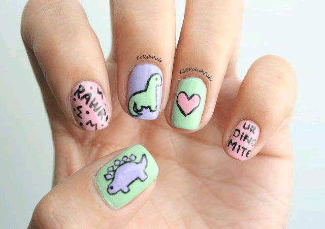 Colorful Cute Dinosaur Nails 5