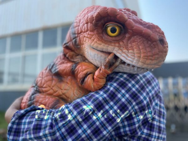 An Oragne Baby T-Rex in the Arm of a Man