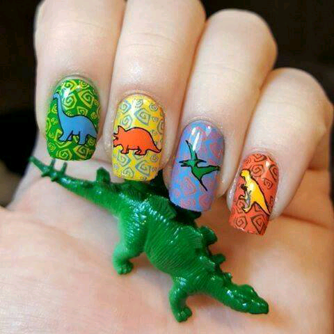 Cute Dinosaur Nails with Four Different Colorful Background