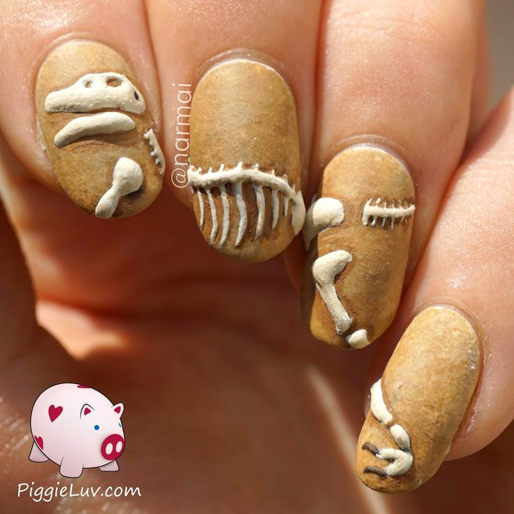 Dinosaur Fossil Nails with Brown Background