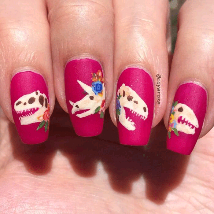 Dinosaur Head Fossil Nails with Rosy Background