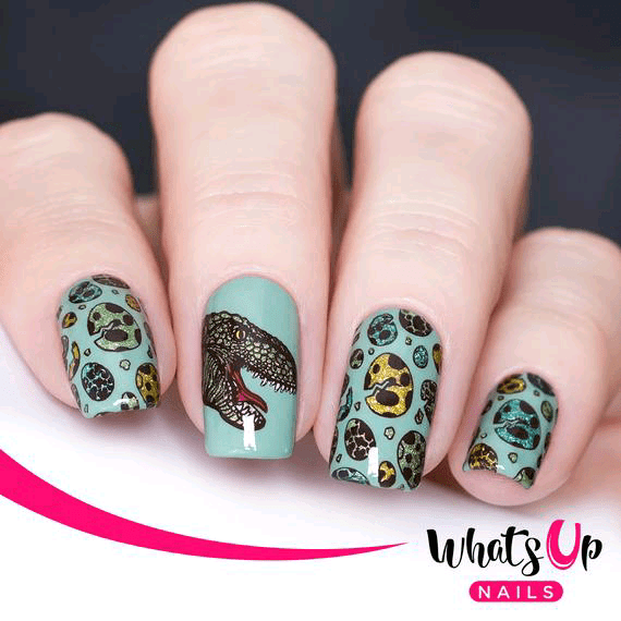 Dinosaur Head and Eggs Nails with Blue Background 3