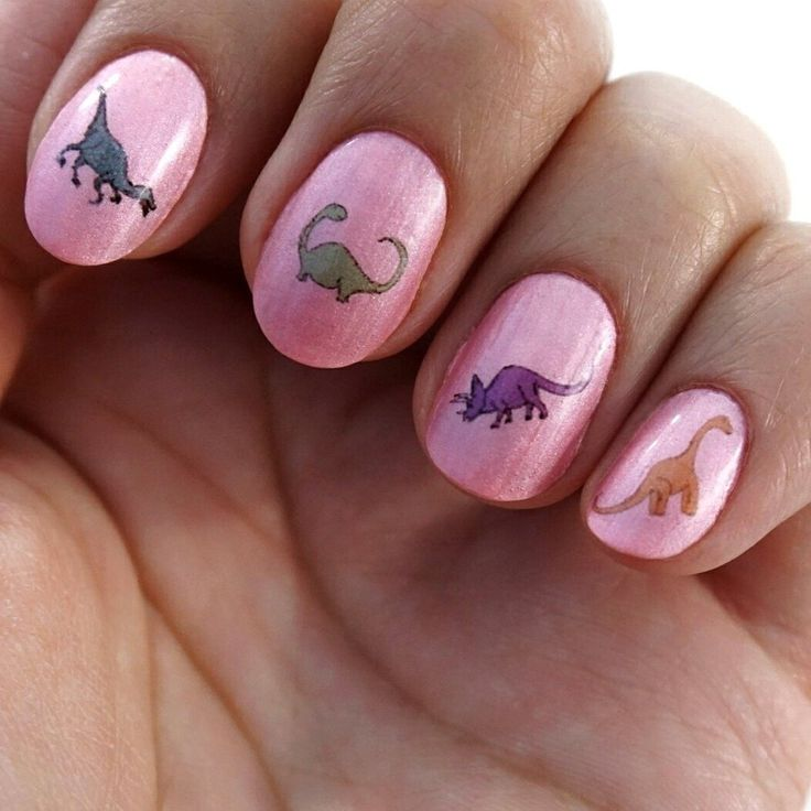 Dinosaur Waterslide Nails with Pink Background