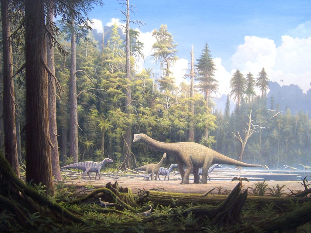 illustration of small sauropods in a forest beside a body of water