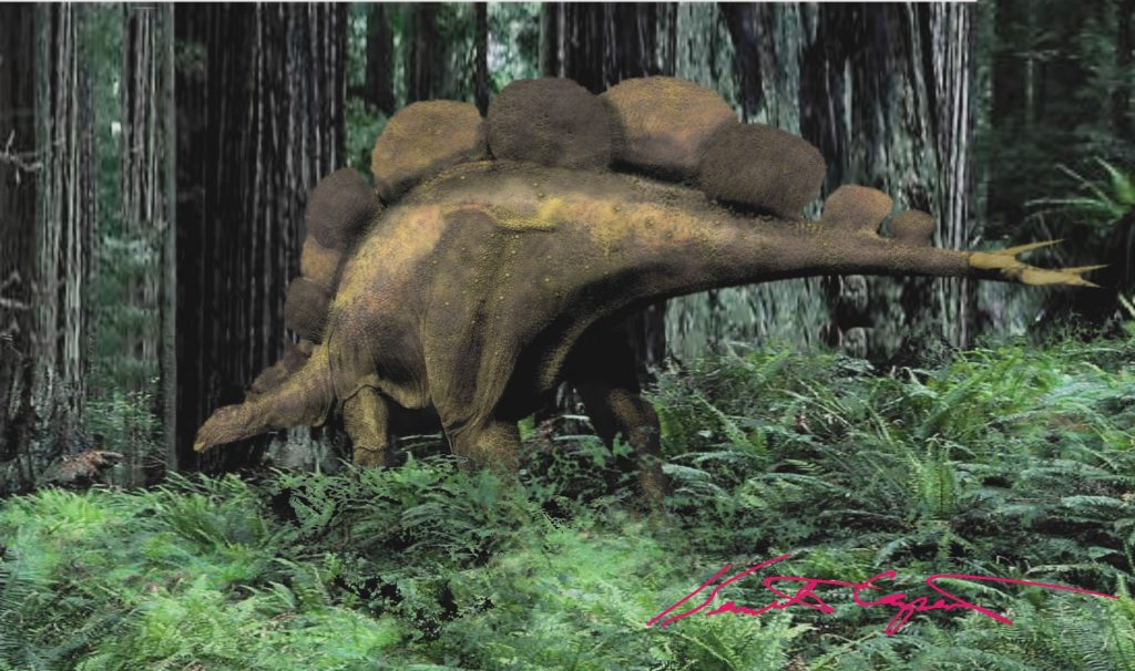 illustration of a brown dinosaur with upright oval plates on its back