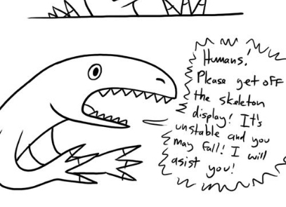 Human Please Get Off the Dinosaur Display