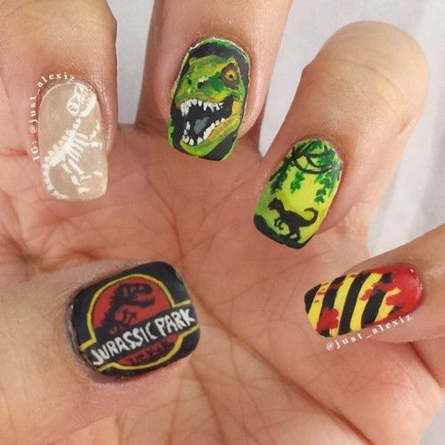 Jurassic Park Themed Nails with Different Colors