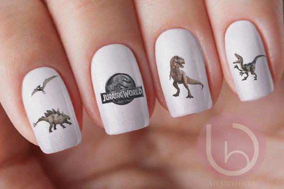 Jurassic World Dinosaur Nail with White Background