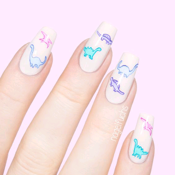 Long Cute Dinosaur Nails with White Background