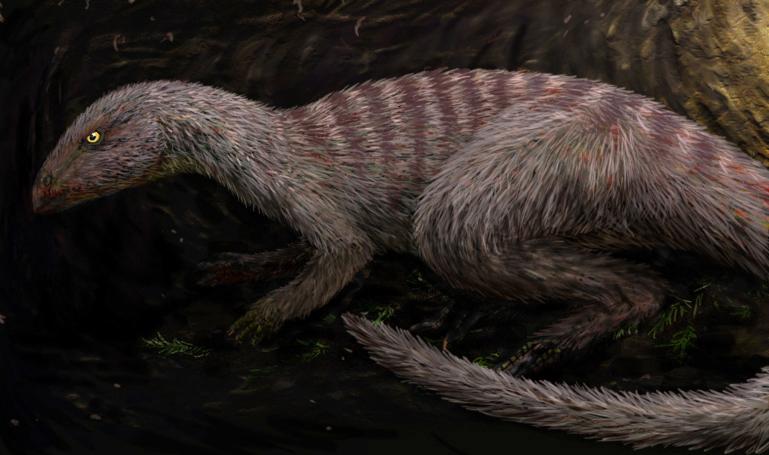 illustration of a slim brown dinosaur inside a burrow