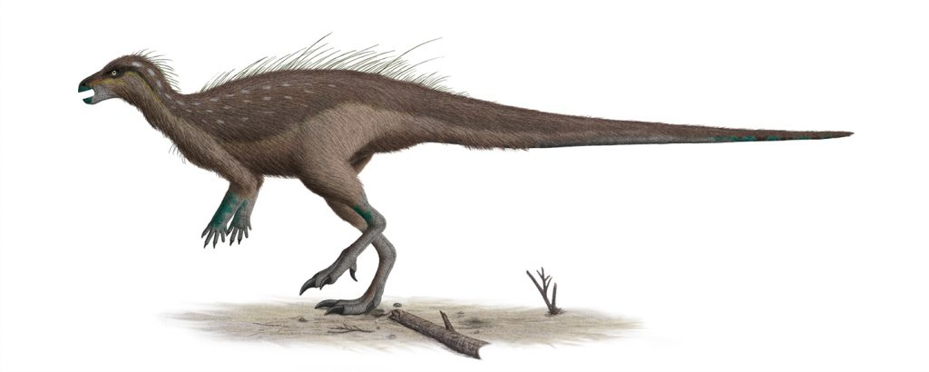 illustration of a brown dinosaur standing beside a branch