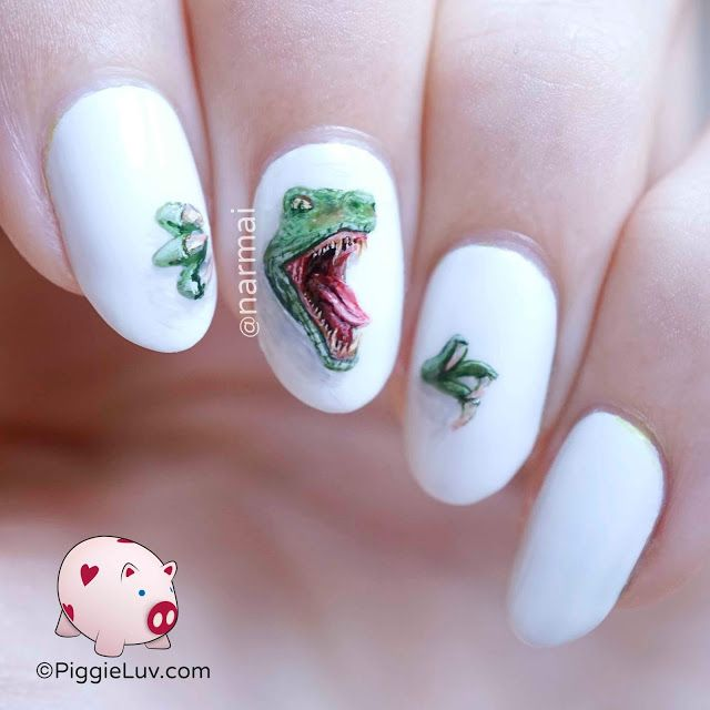 Raptor Nails with White Background