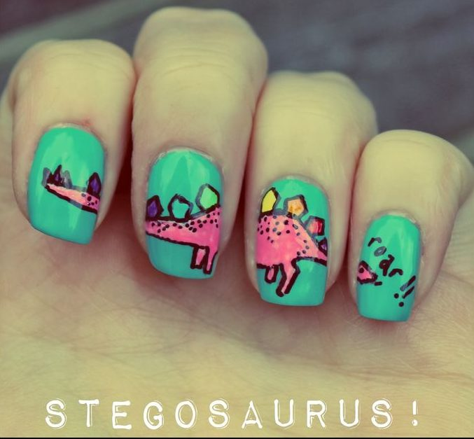 Stegosaurus Nails with Green Background